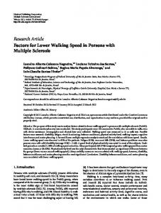 Factors for Lower Walking Speed in Persons with Multiple Sclerosis