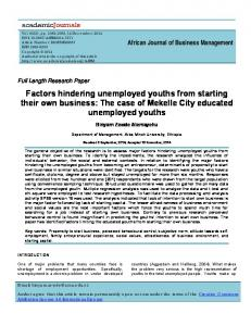 Factors hindering unemployed youths from starting their own business ...
