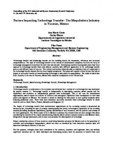 Factors Impacting Technology Transfer: The ...