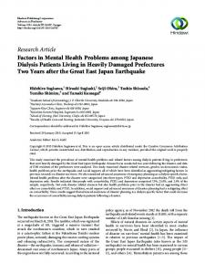 Factors in Mental Health Problems among Japanese Dialysis Patients ...