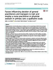 Factors influencing decision of general practitioners and managers to ...