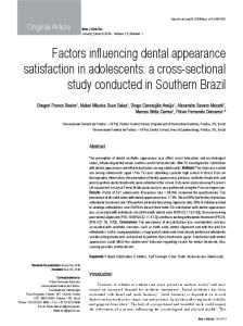 Factors influencing dental appearance satisfaction in adolescents: a ...