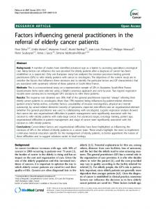 Factors influencing general practitioners in the referral ... - BMC Cancer