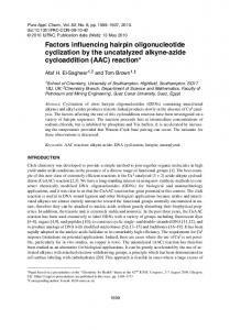 Factors influencing hairpin oligonucleotide cyclization by the ... - iupac