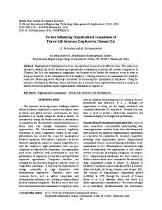 Factors Influencing Organizational Commitment of Private Life ... - IDOSI