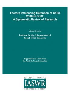 Factors Influencing Retention of Child Welfare Staff: A Systematic ...