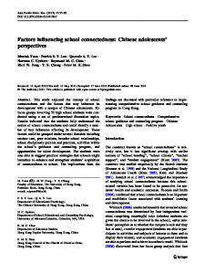 Factors influencing school connectedness: Chinese adolescents ...