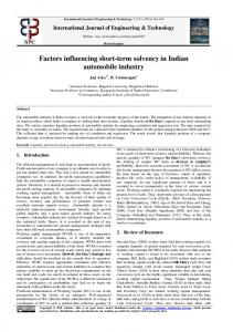 factors influencing short-term solvency in indian automobile industry