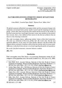 factors influencing students' choice of fast food restaurants - CEON-a