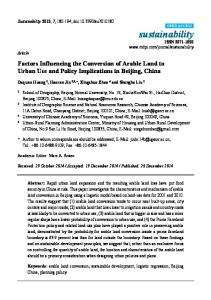 Factors Influencing the Conversion of Arable Land to Urban ... - MDPI
