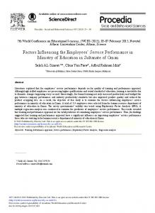 Factors Influencing the Employees' Service ... - ScienceDirect