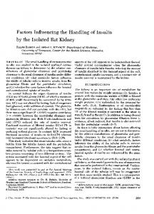 Factors Influencing the Handling of Insulin by the ... - Europe PMC