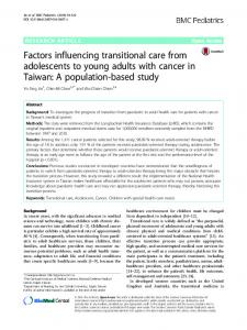 Factors influencing transitional care from adolescents ...