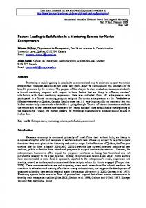 Factors Leading to Satisfaction in a Mentoring Scheme for Novice ...