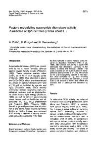 Factors modulating superoxide dismutase activity