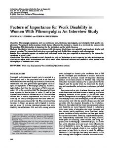 Factors of importance for work disability in ... - Wiley Online Library