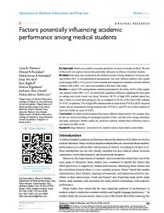 Factors potentially influencing academic performance