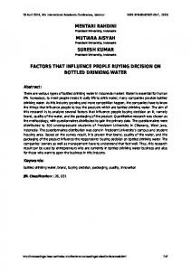 factors that influence people buying decision on bottled drinking water