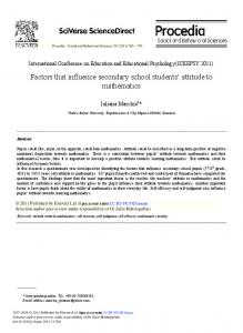 Factors that influence secondary school students' attitude to ... - Core