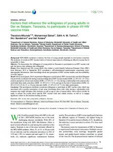 Factors that influence the willingness of young