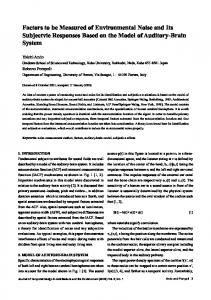 Factors to be Measured of Environmental Noise and Its Subjectvie ...