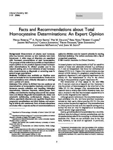 Facts and Recommendations about Total Homocysteine - CiteSeerX