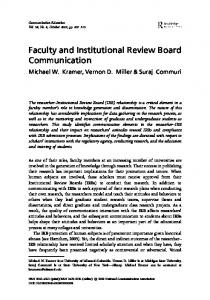 Faculty and Institutional Review Board Communication - The National ...