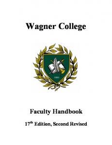 Faculty Handbook - Wagner College