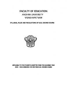 FACULTY OF EDUCATION - Andhra University