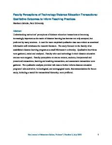 Faculty Perceptions of Technology Distance Education ... - Eric
