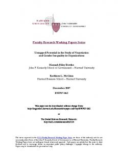 Faculty Research Working Papers Series - SSRN papers