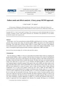 Failure mode and effects analysis: A fuzzy group
