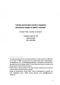 Fairness and the labour market - Semantic Scholar