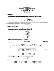 Fall 2001 Problem Set 5 Solutions - McQuarrie Problems 3.20 MIT ...