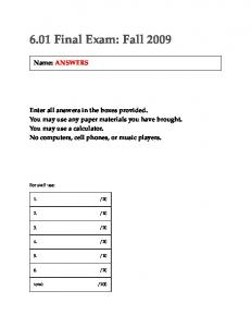Fall 2009 Final Exam Solution (PDF) - MIT OpenCourseWare