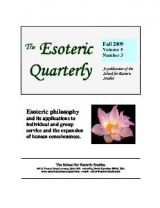 Fall 2009 - The Esoteric Quarterly