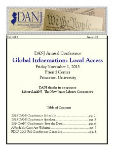 Fall 2013 - DANJ: Documents Association of New Jersey