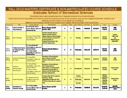 Fall 2013 Master's Course Schedule