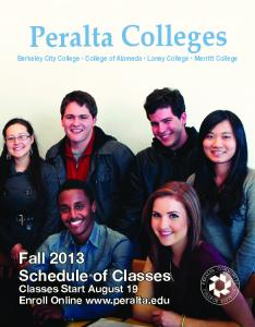 Fall 2013 Schedule of Classes - Peralta Colleges