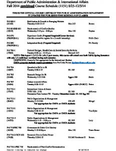 Fall 2014 Course Schedule