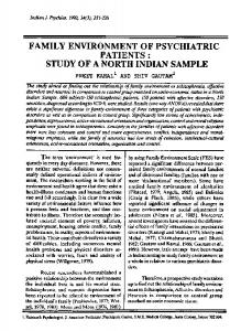 family environment of psychiatric patients : study of a ... - Europe PMC