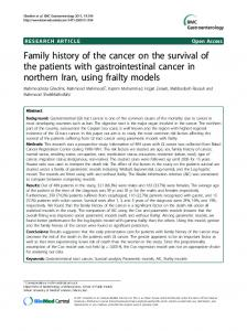 Family history of the cancer on the survival of the patients with ...