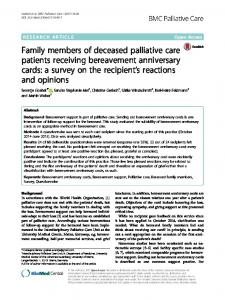 Family members of deceased palliative care ... - BMC Palliative Care