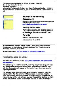 Family Patterns of Perfectionism: An Examination of College Students ...