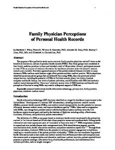 Family Physician Perceptions of Personal Health Records