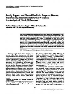 Family Support and Mental Health in Pregnant ... - Wiley Online Library