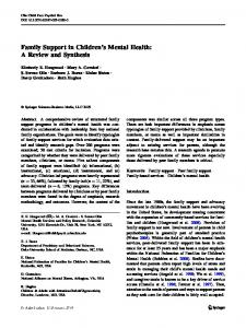 Family Support in Children's Mental Health: A Review and ... - CiteSeerX