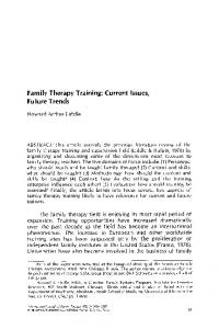 Family therapy training: Current issues, future trends - Springer Link