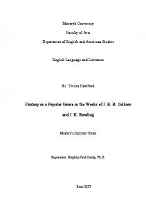 Fantasy as a Popular Genre in the Works of J. R. R. Tolkien and J. K. ...