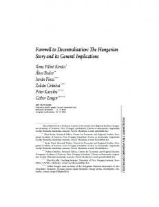 Farewell to Decentralisation: The Hungarian Story and its General